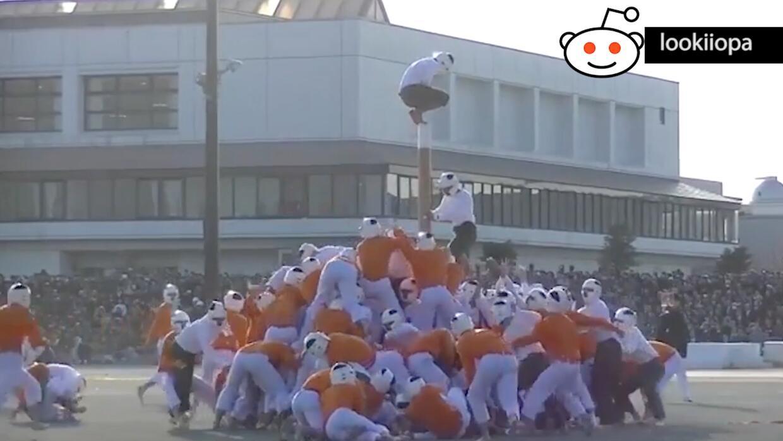 Un deporte de 'locos' en Japón: derriba el poste