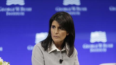 Nikki Haley, embajadora de EEUU ante la ONU, durante su intervenci&oacut...