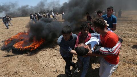 Uno de los heridos del enfrentamiento en la frontera de Gaza e Israel, t...