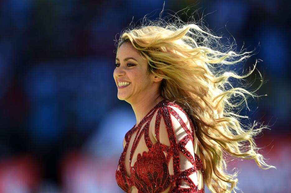 Colombian singer Shakira performs during the closing ceremony prior to t...