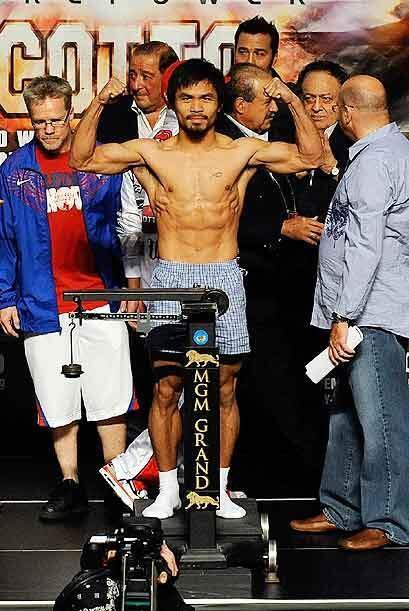 Manny 'Pac-man' Pacquiao detuvo la báscula en las 144 libras, seis más q...