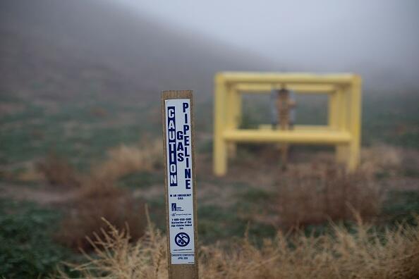 Señalización de conducto de gas en Porter Ranch