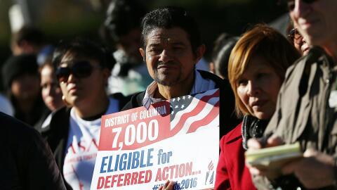Inmigrantes indocumentados durante una marcha para pedir una reforma mig...