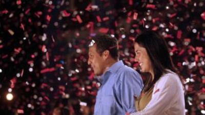 El candidato nacionalista, Ollanta Humala, al momento de escuchar los re...