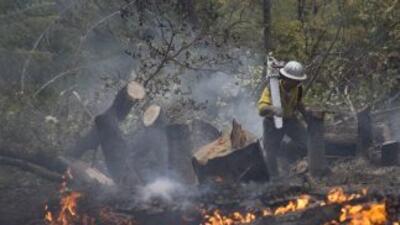Bomberos trabajan para contener el fuego en California.