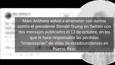 """Marc Anthony carga muy duro contra Trump por su trato """"irrespetuoso"""" a Puerto Rico: """"No lo olvidaremos"""""""
