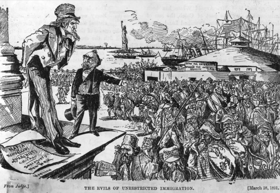 Esta ilustración de 1891 titulada 'Los males de la inmigraci&oacu...
