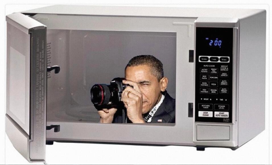 Críticas a Trump de Pete Souza meme microondas