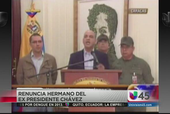 El hermano menor del fallecido presidente Hugo Chávez, Argenis, anunció...