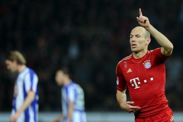 Robben le marcó tres tantos al Hertha, la mitad de anotaciones con las q...