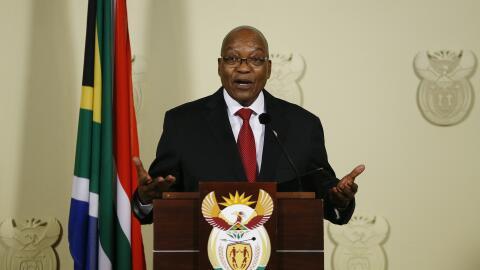 El presidente de Sudáfrica, Jacob Zuma, anunciando su dimisi&oacu...