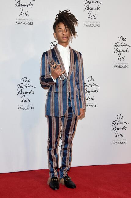 Jaden Smith poses in the winners room after winning the New Fashion Icon...