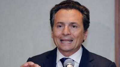 Emilio Lozoya durante la conferencia de prensa que ofreció luego de su c...