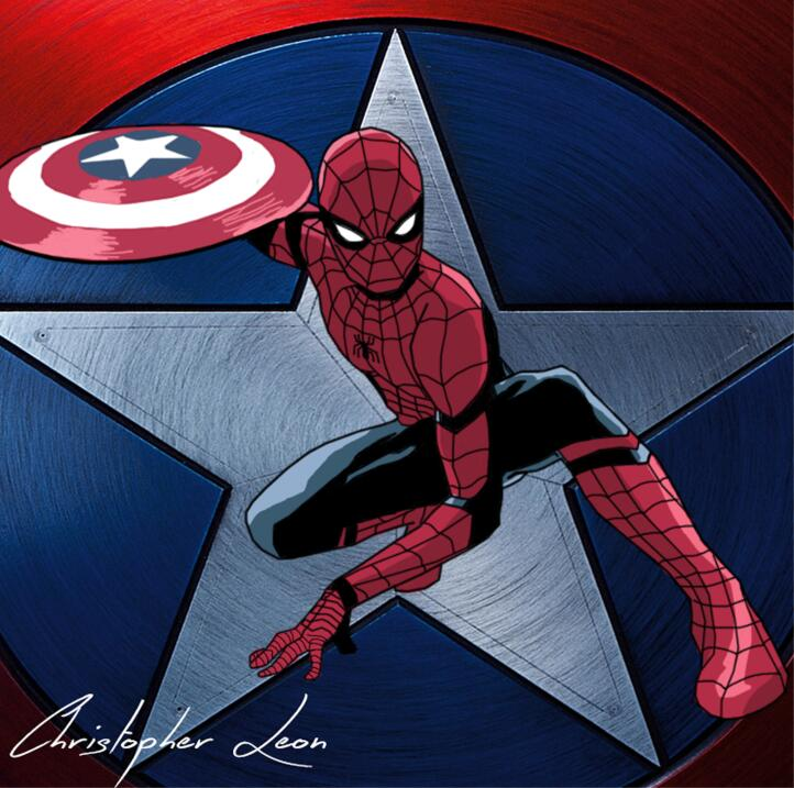 Spider-Man con el escudo de Capitán América, dibujo de Christopher León