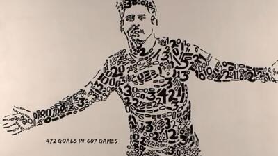 Retrato de Messi con sus goles