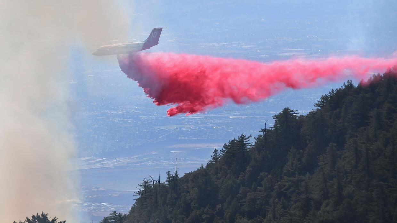 Los bomberos luchan por apagar las llamas de un fuego desatado en el Par...