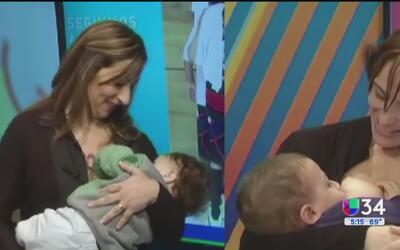 Periodistas amamantan a sus bebés frente a las cámaras de televisión