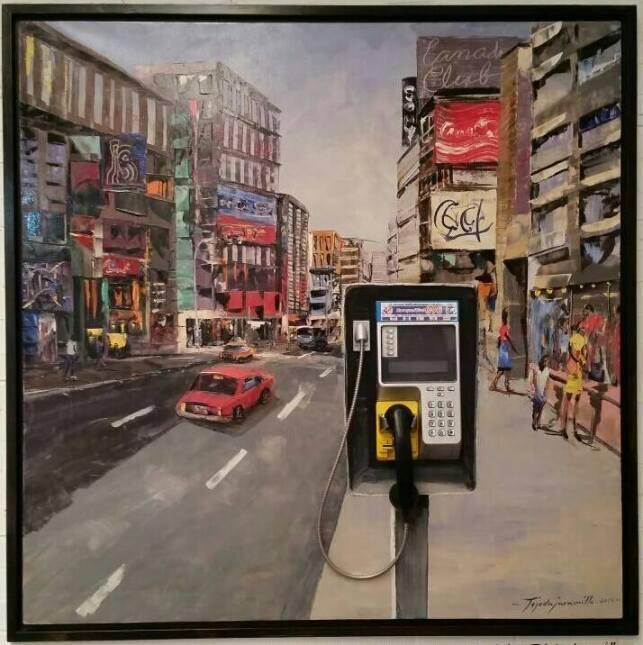 'Una calle de cualquier ciudad', un óleo que Francisco Tejada Jaramillo...
