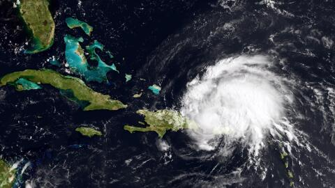 CARIBBEAN SEA - AUGUST 22: In this handout GOES satellite image provided...